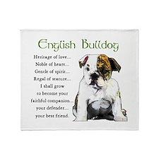 English Bulldog Throw Blanket