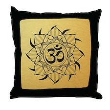 Gold Lotus Aum Mandala Throw Pillow