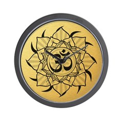 Gold Lotus Aum Mandala Wall Clock