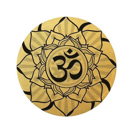 "Gold Lotus Aum Mandala 3.5"" Button (100 pack)"