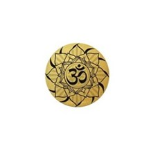 Gold Lotus Aum Mandala Mini Button