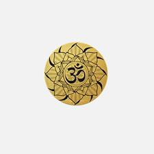 Gold Lotus Aum Mandala Mini Button