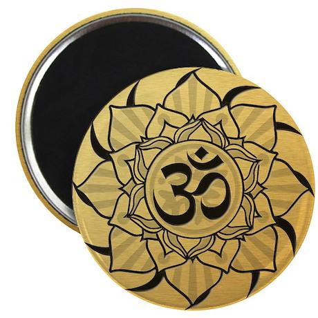"Gold Lotus Aum Mandala 2.25"" Magnet"
