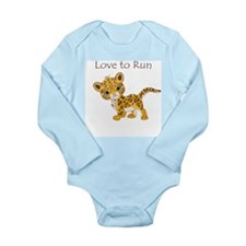 Love to Run Cheetah Long Sleeve Infant Bodysuit