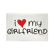 I Heart My Girlfriend Rectangle Magnet