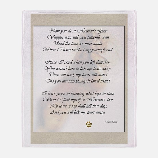 Rainbow Bridge Poem Throw Blanket