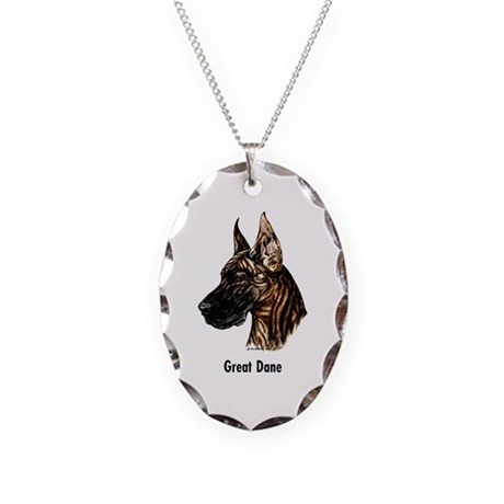 Great Dane Necklace Oval Charm
