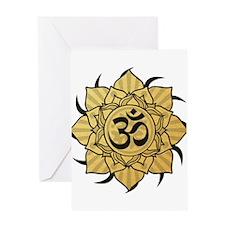 Golden Lotus Aum Greeting Card