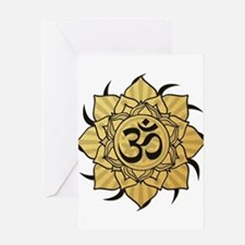 Golden Lotus Aum Greeting Card