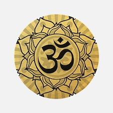 """Golden Lotus Aum 3.5"""" Button (100 pack)"""