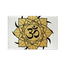 Golden Lotus Aum Rectangle Magnet (100 pack)