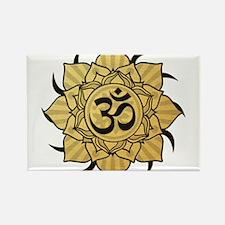 Golden Lotus Aum Rectangle Magnet