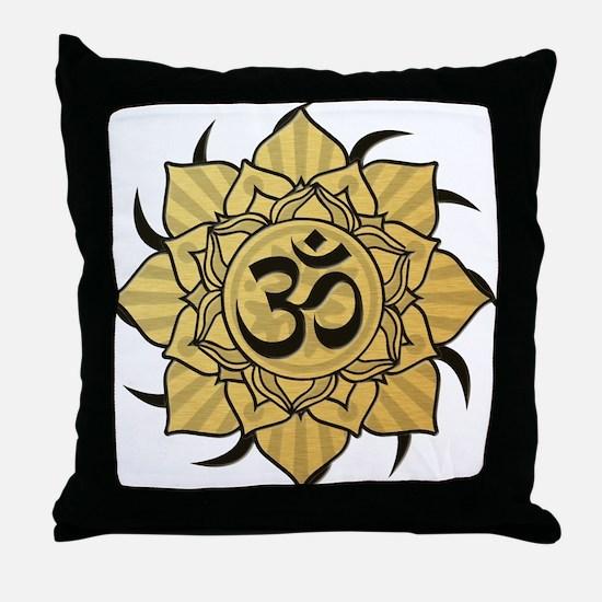Golden Lotus Aum Throw Pillow