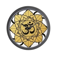 Golden Lotus Aum Wall Clock