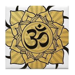 Golden Lotus Aum Tile Coaster