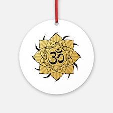 Golden Lotus Aum Ornament (Round)