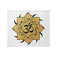 Golden Lotus Aum Throw Blanket