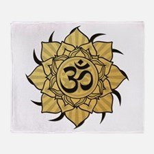 Golden Lotus Aum Throw Blanket