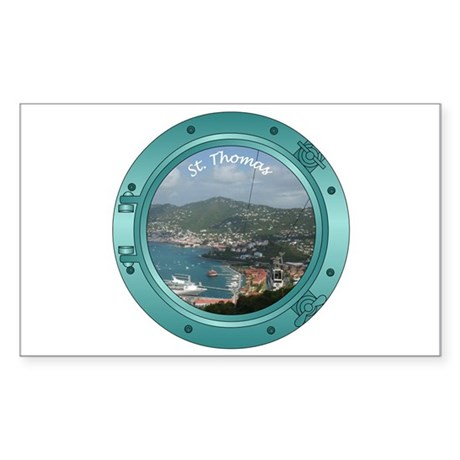 St Thomas Porthole Sticker (Rectangle)