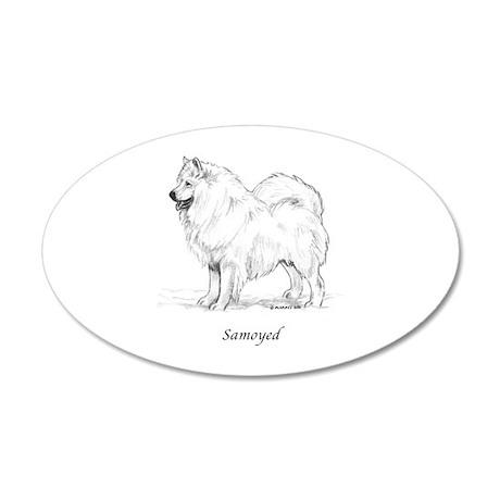Samoyed 38.5 x 24.5 Oval Wall Peel