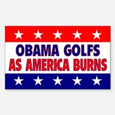 Obama Golfs Rectangle Decal
