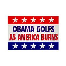 Obama Golfs Rectangle Magnet