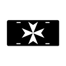 White Maltese Cross Aluminum License Plate
