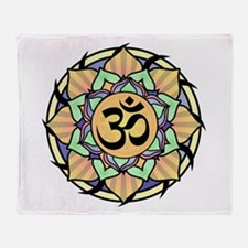 Rainbow Lotus Aum Throw Blanket
