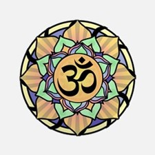 "Rainbow Lotus Aum 3.5"" Button (100 pack)"