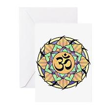 Rainbow Lotus Aum Greeting Cards (Pk of 20)