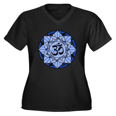 Aum Lotus Mandala (Blue) Women's Plus Size V-Neck