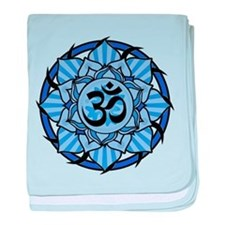 Aum Lotus Mandala (Blue) baby blanket