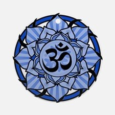 Aum Lotus Mandala (Blue) Ornament (Round)