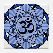 Aum Lotus Mandala (Blue) Tile Coaster