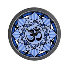 Aum Lotus Mandala (Blue) Wall Clock