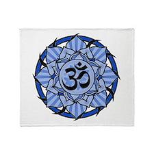 Aum Lotus Mandala (Blue) Throw Blanket