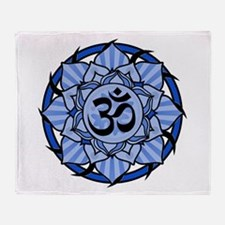 Aum Lotus Mandala (Blue) Throw Blanket