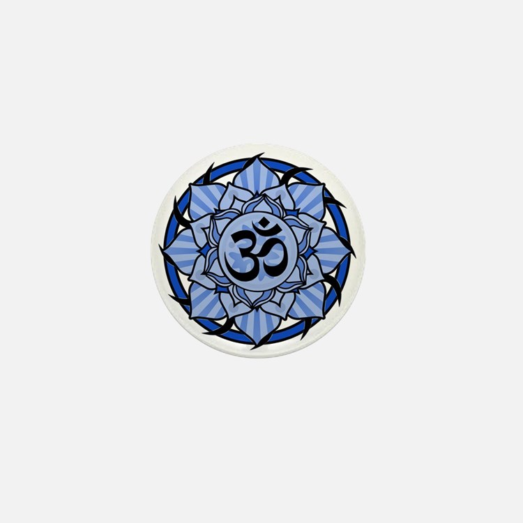 Aum Lotus Mandala (Blue) Mini Button