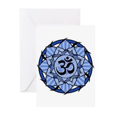 Aum Lotus Mandala (Blue) Greeting Card