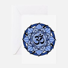 Aum Lotus Mandala (Blue) Greeting Card