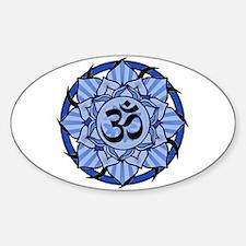 Aum Lotus Mandala (Blue) Sticker (Oval)