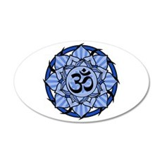 Aum Lotus Mandala (Blue) 22x14 Oval Wall Peel