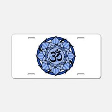 Aum Lotus Mandala (Blue) Aluminum License Plate