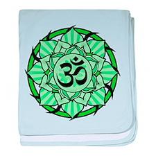 Aum Lotus Mandala (Green) baby blanket