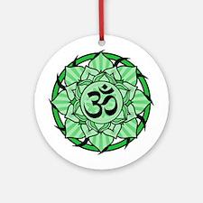 Aum Lotus Mandala (Green) Ornament (Round)