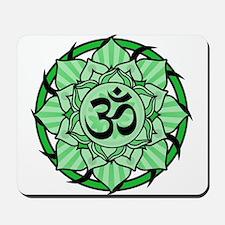 Aum Lotus Mandala (Green) Mousepad