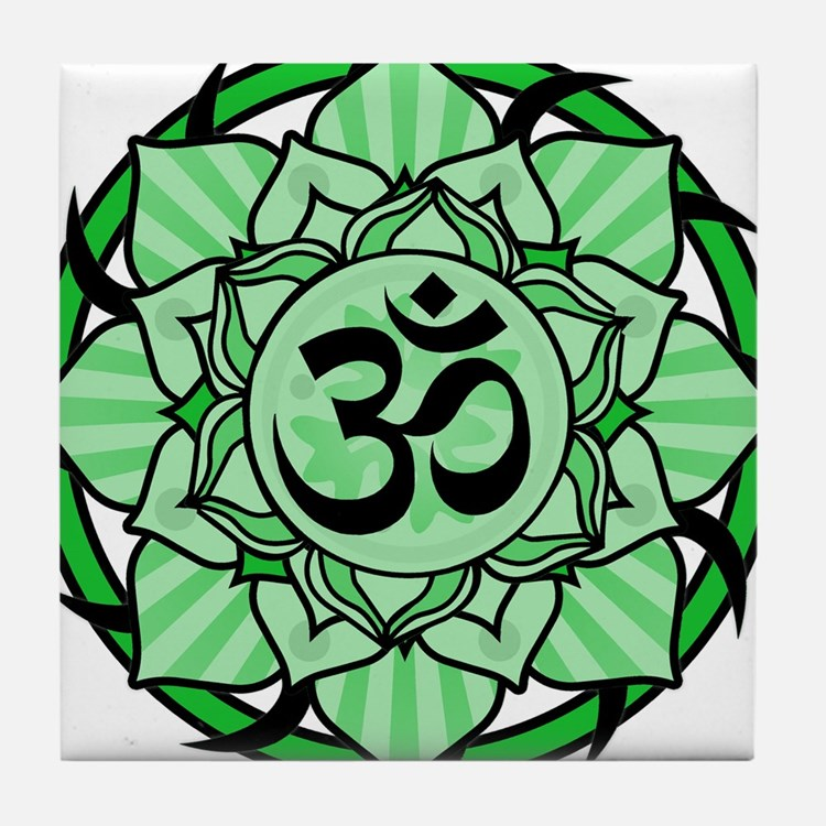 Aum Lotus Mandala (Green) Tile Coaster