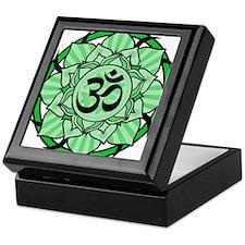 Aum Lotus Mandala (Green) Keepsake Box