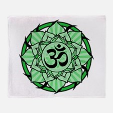 Aum Lotus Mandala (Green) Throw Blanket