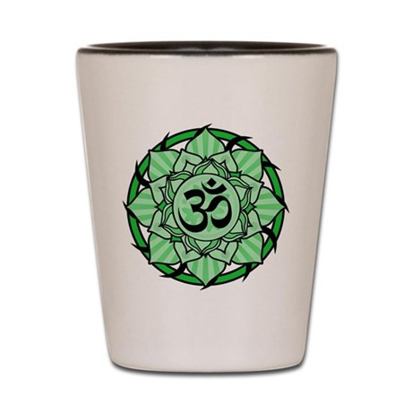 Aum Lotus Mandala (Green) Shot Glass